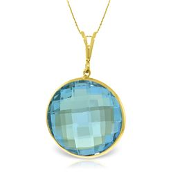Genuine 23 ctw Blue Topaz Necklace Jewelry 14KT Yellow Gold - REF-61A5K