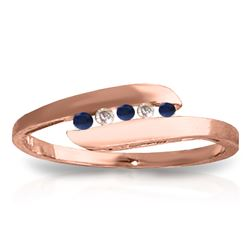 Genuine 0.25 ctw Sapphire & Diamond Ring Jewelry 14KT Rose Gold - REF-32K4V
