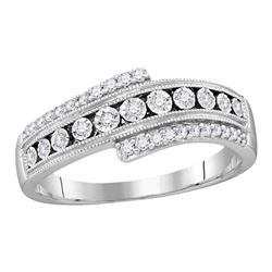 0.19 CTW Diamond Crossover Milgrain Illusion-set Ring 10KT White Gold - REF-24H2M