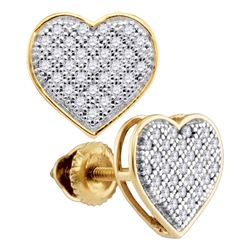 0.15 CTW Diamond Heart Screwback Earrings 10KT Yellow Gold - REF-14N9F