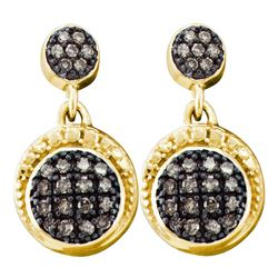 0.25 CTW Cognac-brown Color Diamond Dangle Screwback Earrings 10KT Yellow Gold - REF-18H2M