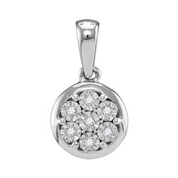 0.05 CTW Diamond Illusion-set Flower Cluster Pendant 10KT White Gold - REF-8X9Y
