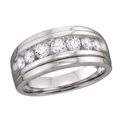 0.90 CTW Mens Diamond Wedding Ring 10KT White Gold - REF-75N2F