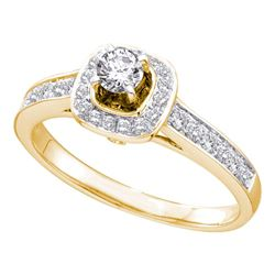 0.50 CTW Diamond Solitaire Bridal Engagement Ring 14KT Yellow Gold - REF-75M2H