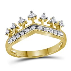 0.20 CTW Diamond Crown Tiara Ring 10KT Yellow Gold - REF-22H4M
