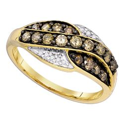 0.55 CTW Cognac-brown Color Diamond Ring 10KT Yellow Gold - REF-26Y9X