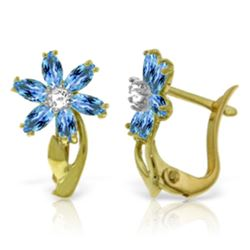 Genuine 1.10 ctw Blue Topaz & Diamond Earrings Jewelry 14KT Yellow Gold - REF-36K3V