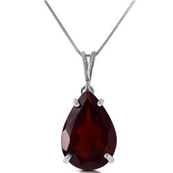 Genuine 5 ctw Garnet Necklace Jewelry 14KT White Gold - REF-33P2H
