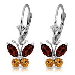 Genuine 1.24 ctw Garnet & Citrine Earrings Jewelry 14KT White Gold - REF-38X2M