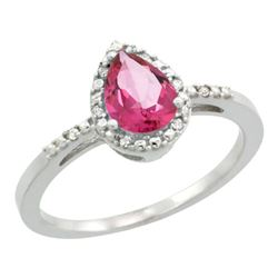 Natural 1.53 ctw pink-topaz & Diamond Engagement Ring 10K White Gold - REF-18X9A