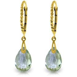 Genuine 6 ctw Green Amethyst Earrings Jewelry 14KT Yellow Gold - REF-30Y6F