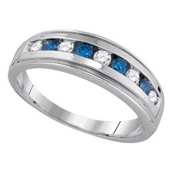 0.50 CTW Blue Color Diamond Anniversary Ring 10KT Yellow Gold - REF-41F9N