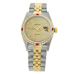 Rolex Pre-owned 36mm Mens Pave Diamond Dial Two Tone - REF-750M3R