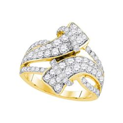 2 CTW Diamond Bypass Crossover Luxury Ring 14KT Yellow Gold - REF-157M5H