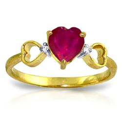 Genuine 1.01 ctw Ruby & Diamond Ring Jewelry 14KT Yellow Gold - REF-43H2X