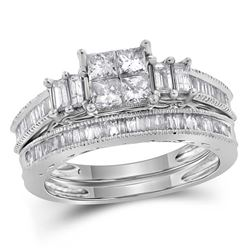 0.99 CTW Princess Diamond Bridal Engagement Ring 14KT White Gold - REF-112M5H