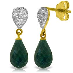 Genuine 6.63 ctw Green Sapphire Corundum & Diamond Earrings Jewelry 14KT Yellow Gold - REF-28X3M