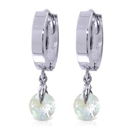 Genuine 1.30 ctw Aquamarine Earrings Jewelry 14KT White Gold - REF-29M2T