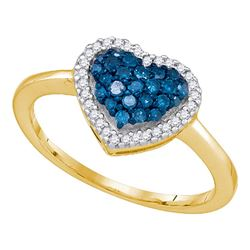 0.33 CTW Blue Color Diamond Heart Love Ring 10KT Yellow Gold - REF-18K2W