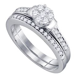 0.50 CTW Diamond Cluster Bridal Engagement Ring 10KT White Gold - REF-52H4M