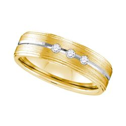 0.12 CTW Mens Diamond Brushed Wedding Anniversary Ring 10KT Two-tone Gold - REF-41K2W