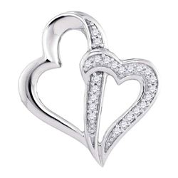 0.05 CTW Diamond Double Linked Heart Pendant 10KT White Gold - REF-8K9W