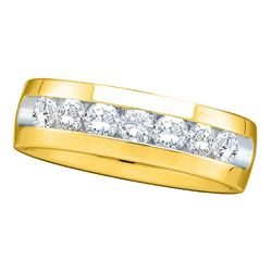 0.25 CTW Mens Channel-set Diamond Wedding Anniversary Ring 14KT Yellow Gold - REF-67W4K