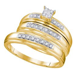 0.20 CTW His & Hers Diamond Matching Bridal Ring 14KT Yellow Gold - REF-44H9M