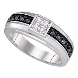 0.45 CTW Mens Black Color Diamond Wedding Anniversary Ring 10KT White Gold - REF-34H4M