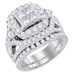 3.34 CTW Princess Diamond Cluster Bridal Engagement Ring 14KT White Gold - REF-359F9N