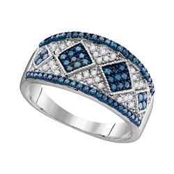 0.50 CTW Blue Color Diamond Ring 10KT White Gold - REF-30M2H