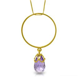 Genuine 3 ctw Amethyst Necklace Jewelry 14KT Yellow Gold - REF-24K4V
