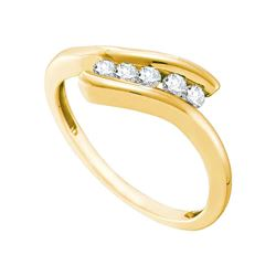 0.20 CTW Diamond 5-stone Promise Bridal Ring 10KT Yellow Gold - REF-20N9F