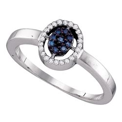 0.17 CTW Blue Color Diamond Cluster Ring 10KT White Gold - REF-13H4M