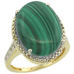 Natural 14.04 ctw Malachite & Diamond Engagement Ring 10K Yellow Gold - REF-42N3G