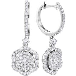 0.95 CTW Diamond Hexagon Cluster Dangle Earrings 14KT White Gold - REF-97F4N