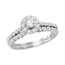 1 CTW Diamond Halo Bridal Engagement Ring 14KT White Gold - REF-82W4K