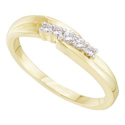 0.12 CTW Diamond 5-stone Simple Ring 10KT Yellow Gold - REF-14K9W