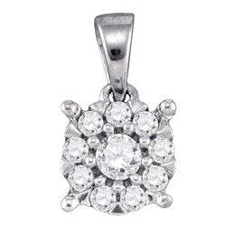 0.26 CTW Diamond Flower Cluster Pendant 14KT White Gold - REF-25K4W
