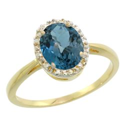 Natural 1.22 ctw London-blue-topaz & Diamond Engagement Ring 10K Yellow Gold - REF-20W5K