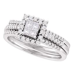 0.50 CTW Princess Diamond 3-Piece Halo Bridal Engagement Ring 14KT White Gold - REF-79X4Y