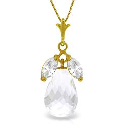 Genuine 7.2 ctw White Topaz Necklace Jewelry 14KT Yellow Gold - REF-30X5M