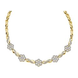 1.99 CTW Diamond Infinity Flower Cluster Necklace 14KT Yellow Gold - REF-389H9M