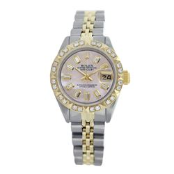 Rolex Pre-owned 26mm Womens Custom Pink Mother of Pearl Two Tone - REF-550N2H