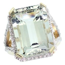 Natural 13.72 ctw green-amethyst & Diamond Engagement Ring 14K Yellow Gold - REF-81Z3Y