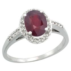 Natural 1.6 ctw Ruby & Diamond Engagement Ring 10K White Gold - REF-39X9A