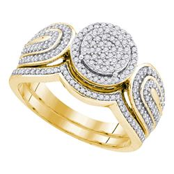 0.50 CTW Diamond Cluster Bridal Engagement Ring 10KT Yellow Gold - REF-52H4M