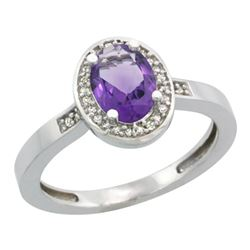 Natural 1.08 ctw Amethyst & Diamond Engagement Ring 10K White Gold - REF-25R5Z