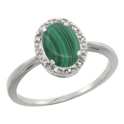 Natural 1.69 ctw Malachite & Diamond Engagement Ring 14K White Gold - REF-25W6K