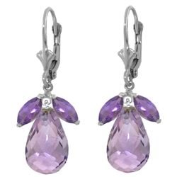 Genuine 14.4 ctw Amethyst Earrings Jewelry 14KT White Gold - REF-46T7A